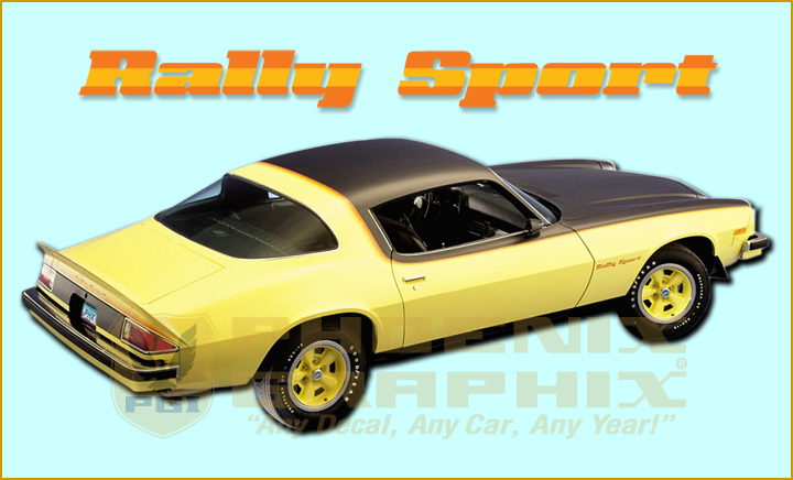 1975-1979 Chevy Camaro RS Rally Sport Fender Spoiler Decals 1 Color NEW Set of 3
