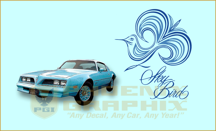 1977 1978 Pontiac Firebird Esprit Sky Blue Bird Decals