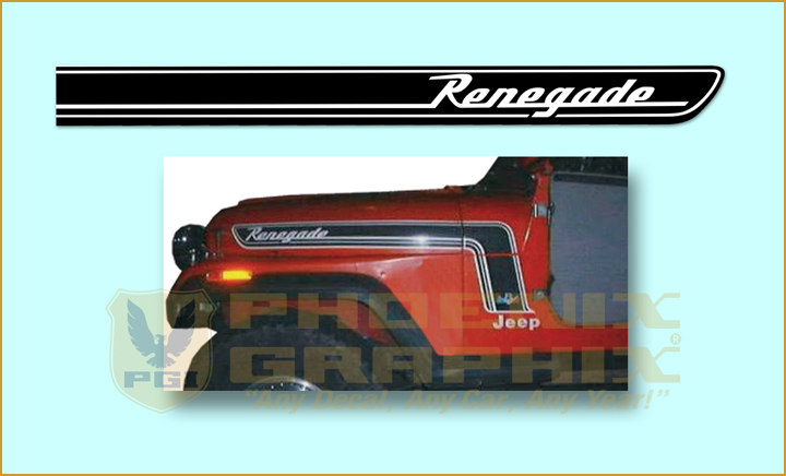 1975 Jeep CJ5 Renegade http://performance100.net/decal-renegade-hood-cowl-stripe-black-1974-1975-jeep-cj5-renegade/
