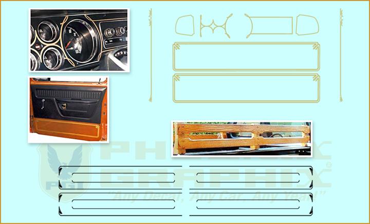 1976 1977 1978 1979 Dodge Warlock Truck Interior Wood Rack Stripes Decals Kit