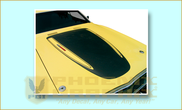 1973-74 Charger Hood Blackout Stencil with cutouts